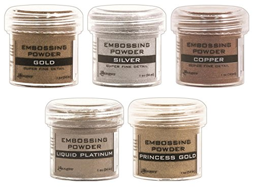 Ranger - Heat Embossing Powder for Cardmaking - Metallic - Gold, Silver, Platinum, Copper & Princess Gold - 5 Item Bundle