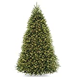 National Tree 10 Foot Dunhill Fir Tree with 1200 Dual LED Lights and 9 Function Footswitch, Hinged (DUH-330LD-10S)