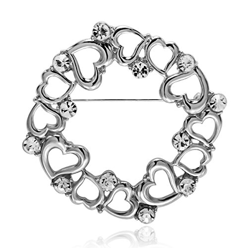 MANZHEN Delicate Gold Silver Plated Crystal Rhinstone Circle Loving Heart Brooch Pin Vintage for Women (Silver) (Vintage Pin Circle)
