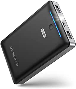 Power Bank RAVPower 16750mAh Portable Charger Ultra-Compact External Battery Pack with 4.5A Max Output Phone Charger Dual USB Ports & Flashlight for iPhone 11 Pro SE Samsung Galaxy S20 Note10 (Black)