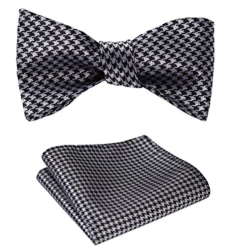 (SetSense Men's Houndstooth Jacquard Woven Self Bow Tie Set One Size Black /)