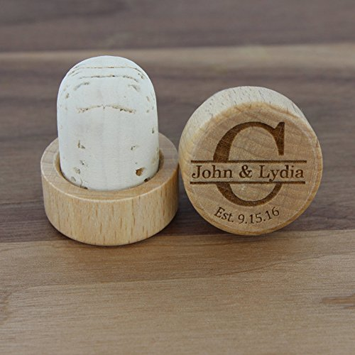 Customized Wine Cork Set of 5 , Wood Wine Corks, Personalized Wine Stoppers, Customized Engraved Monogrammed Wood Top Cork, Winter Wedding Favor or Gift, Unique Cool Wine Cork