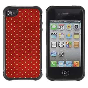 Híbridos estuche rígido plástico de protección con soporte para el Apple iPhone 4 / 4S - dot red yellow reflective bright chef