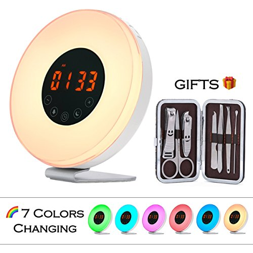 Wake Up Light Alarm Clock - USCCE (2017 New Design) Sunrise Simulation Alarm Clock with Snooze/Sunset Function, Nature Sounds, FM Radio, 7 colors Changing, Touch Control Alarm Clock radio (White)