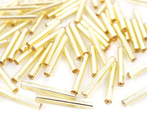 80pcs x 20mm Extra Long Light Gold Silver Lined Round Czech Glass Bugle Beads PRECIOSA Tubes