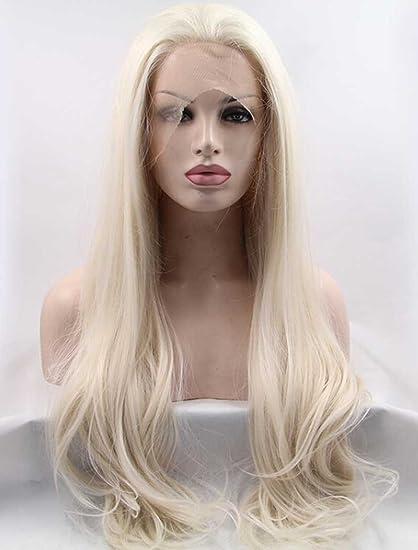 Tsnomore - Peluca larga de encaje frontal de color ombré hecha a mano para mujer,