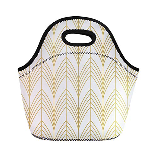 (Semtomn Lunch Tote Bag Beige Geometric Scales in Gold Pattern Lattice Luxury Abstract Reusable Neoprene Insulated Thermal Outdoor Picnic Lunchbox for Men Women)