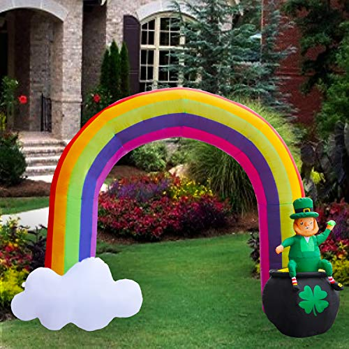 SEASONBLOW 8 Ft LED Light Up Inflatable St. Patrick's Day Rainbow Arch Decoration with Leprechaun Sitting Pot of Gold for Home Yard Lawn Garden Indoor Outdoor from SEASONBLOW