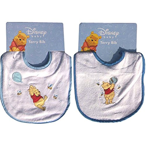 Disney Baby Winnie the Pooh 2-pack Embroidered Terry Bibs ()
