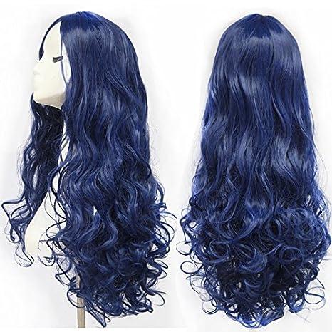 Peluca de cabello largo rizado color azul de alta calidad, pelucas de cosplay para mujeres