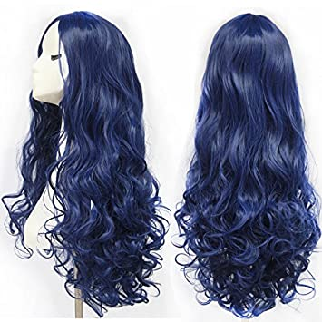 28 Inch 70cm High Quality Women S Long Full Curly Dark Blue Hair