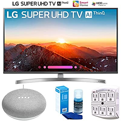 "LG 49SK8000PUA 49""-Class 4K HDR Smart LED AI Super UHD TV w/ThinQ (2018) + Google Home Mini - Chalk + LED TV Screen Cleaner + SurgePro 6-Outlet Surge Adapter w/Night Light"