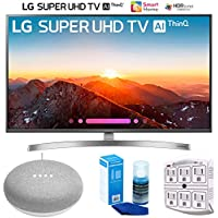 LG 49SK8000PUA 49-Class 4K HDR Smart LED AI Super UHD TV w/ThinQ (2018) + Google Home Mini - Chalk + LED TV Screen Cleaner + SurgePro 6-Outlet Surge Adapter w/Night Light