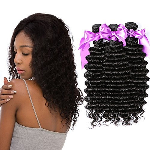 Dream Like 3 Pack Brazilian Virgin Hair Deep Wave Bundles (8 10 12inch) Unprocessed Virgin Human Hair Weave Extensions Wholesale Brazilian Human Hair Bundles Natural Color (Wholesale 10 Piece Natural)