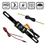(US) AIDOUT Rear View Camera - Waterproof Color Wide Viewing Angle License Plate Car Rear View Camera High Definition Reverse Backup Parking Camera With 7 Infrared LED Night Vision - Universal for Car
