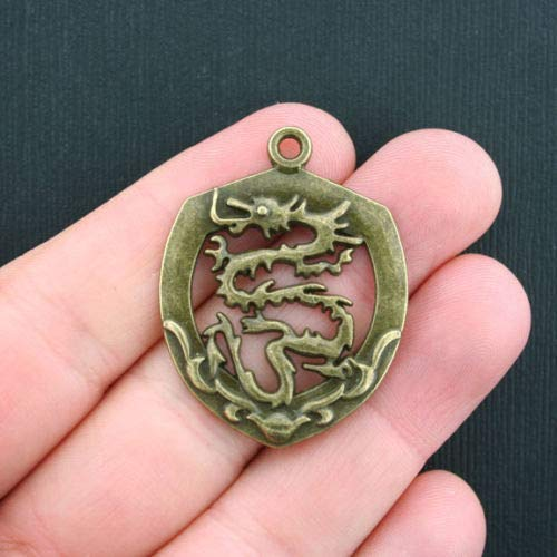 (Jewelry Making 4 Large Dragon Charms Antique Bronze Tone Ornate Design - BC1018 Perfect for Pendants, Earrings, Zipper pulls, Bookmarks and Key Chains)