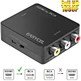 Easycel 1080P Mini HDMI to AV Composite RCA CVBS Converter Adapter for Roku Streaming Player Stick DVD PS3 PS4 Amazon Fire TV Stick Chromecast, Supports PAL/NTSC Switch with USB Power Cable, Black