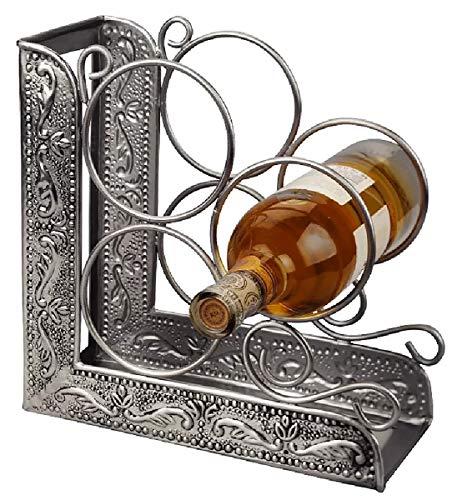 (J&M 3 Bottle Tabletop Wine Rack Dining Room Elegant Display w/Scrolling Motif & Antique Pewter Finish)