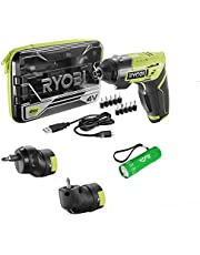 Ryobi 4V Lithium-Ion Cordless Multi-Head Screwdriver Bundle with (3) Head Attachments, (10) Driving Bits, USB Charging Cable and BUHO Flashlight