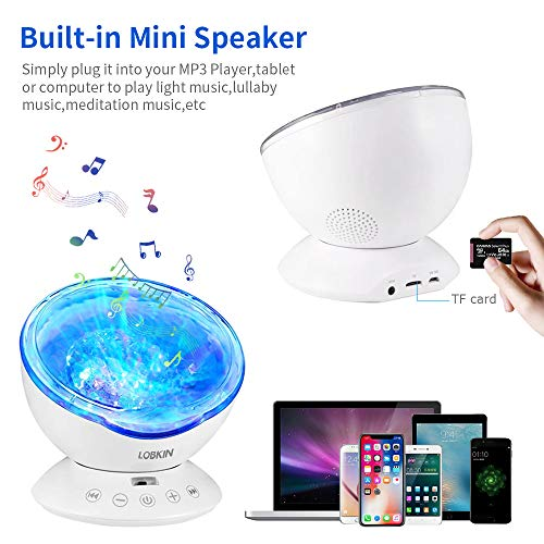 LOBKIN Remote Control Touch Senor Ocean Wave LED Light Projector,Rotate Aurora Galaxy Sky Lights for Bedroom Baby Nursery Adults Kids Cool Space Room Decor White Noise Sound Machine LED Night Lights