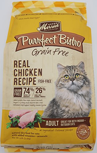 Merrick Purrfect Bistro Grain Free Real Chicken Adult Dry Cat Food, 12 lbs.