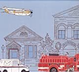 Industrial City Cartoon View Plane Post Office Fire Truck Extra Wide Wallpaper Border for Kids, Roll 15' x 18''