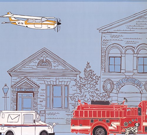 Industrial City Cartoon View Plane Post Office Fire Truck Extra Wide Wallpaper Border for Kids, Roll 15' x 18'' (Border Wallpaper Truck Fire)