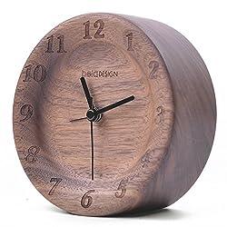 belaDESIGN Handmade Black Walnut Wood Round Large Number Silent Table Alarm Clock Christmas Gift