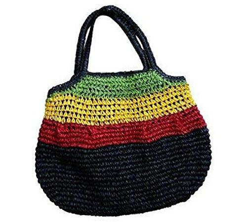 Rasta Rastafari Jamaica Shoulder Bag Reggae Marley Boho Hippie Beach tote Sak Hobo Straw ()