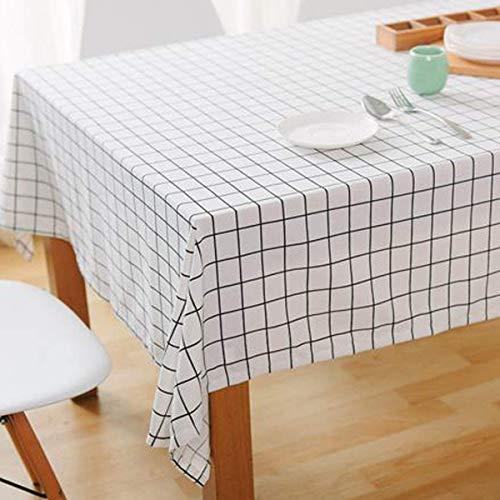 Bringsine Fashion Classic Square Cotton Linen White Check Washable Tablecloth Vintage Dinner Picnic Table Cloth Home Decoration Assorted Size
