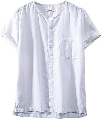 FRAUIT - Camisa de Manga Corta para Hombre, de Lino, Cuello Corto, Camisa de Hombre, Elegantes, Tallas Grandes y Grandes, Camiseta Divertida de algodón, Camisetas de Manga Corta Blanco XXL: Amazon.es: Ropa