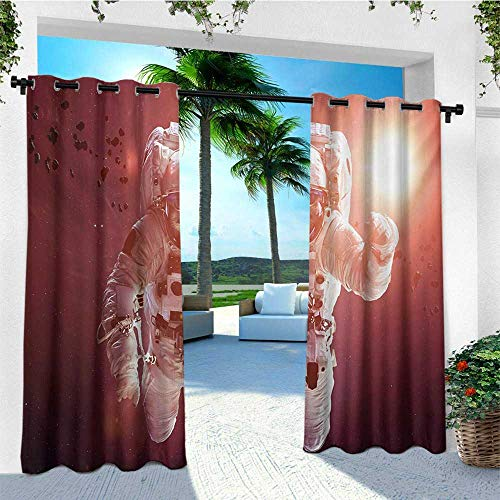 leinuoyi Space Cat, Outdoor Curtain Extra Wide, Pet Cat in Outer Space Planet Meteors Galaxy with Astronaut Suit Image, for Patio Waterproof W120 x L108 Inch White Purple and Ruby