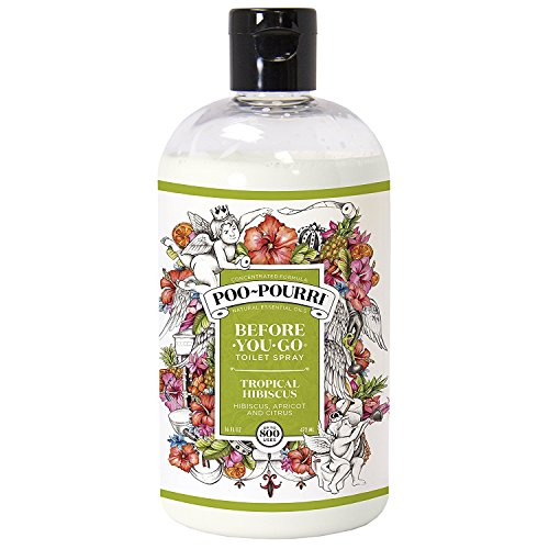 Poo-Pourri Before-You-Go Toilet Spray 16-Ounce Refill Bottle, Tropical Hibiscus + Free Uben Travel Size, 1-Ounce Refill - Christmas Best Cookies Spritz