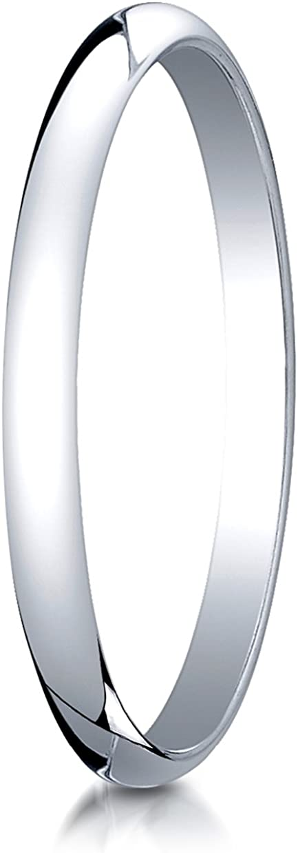 Benchmark Platinum 2mm Slightly Domed Traditional Oval Wedding Band Ring (Sizes 4 - 15 )