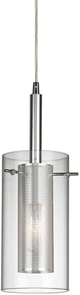 Home Decorators Collection 1-Light Chrome Dual Shade Mesh Cylinder Pendant