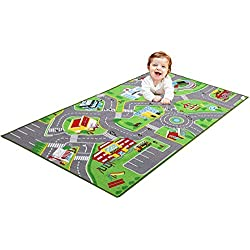"79""X40"" Kids Rug Play mat for Toy Cars, Safe,Colorful and Fun Play Rugs with Roads for Bedroom and Kid Rooms, Car Rug to Have Hours of Fun on,Area Rug Mat with Non-Slip and No Chemical Smell Backing"