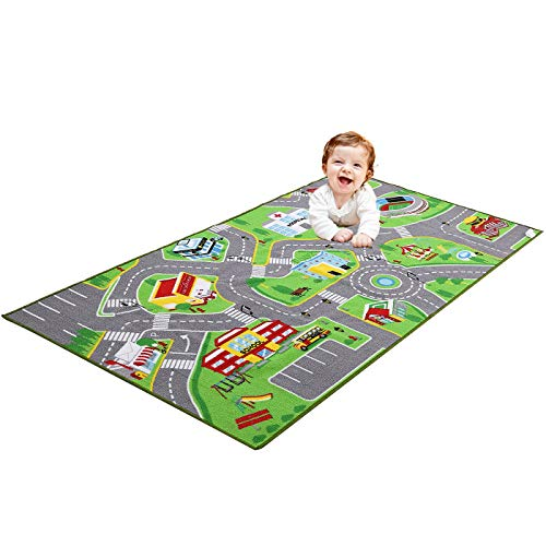 """79""""X40"""" Kids Rug Play mat for Toy Cars, Safe,Colorful and Fun Play Rugs with Roads for Bedroom and Kid Rooms, Car Rug to Have Hours of Fun on,Area Rug Mat with Non-Slip and No Chemical Smell Backing"""