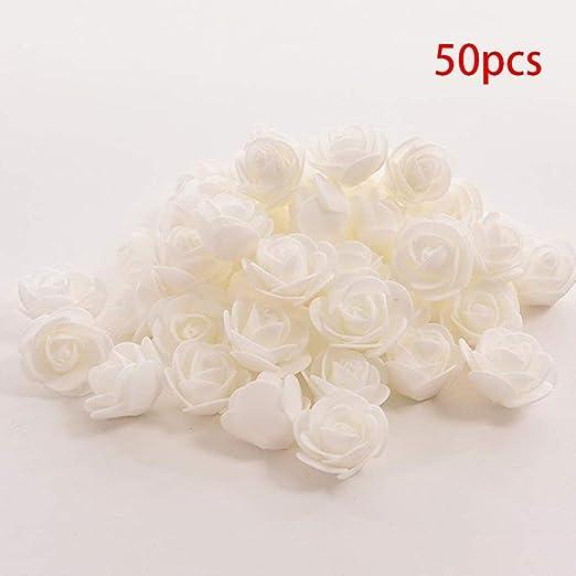 AAVBR Mini 50pcs Flores Artificiales Rosas Artificial Espuma Flor ...