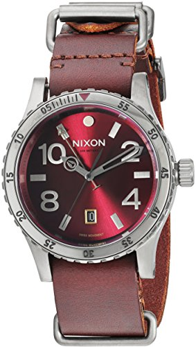 Nixon Men's 'Diplomat' Swiss Quartz Stainless Steel and Leather Automatic Watch, Color:Red (Model: A2692073)