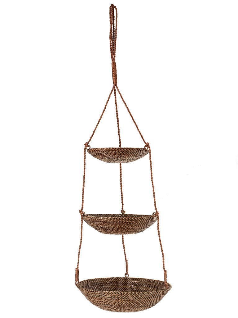 KOUBOO 3-Tier Hanging Basket in Rattan-Nito, Brown 1020023