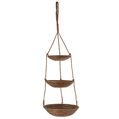 KOUBOO 3-Tier Hanging Basket in Rattan-Nito, Brown