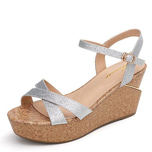 Salvaje de simple con tacones dulces altos Pendiente femenino Zapatos sandalias Cómodo Declive 35 verano sueltas palabra Aumentado sandalias de con zapatos yardas sandalias Ynq8TS