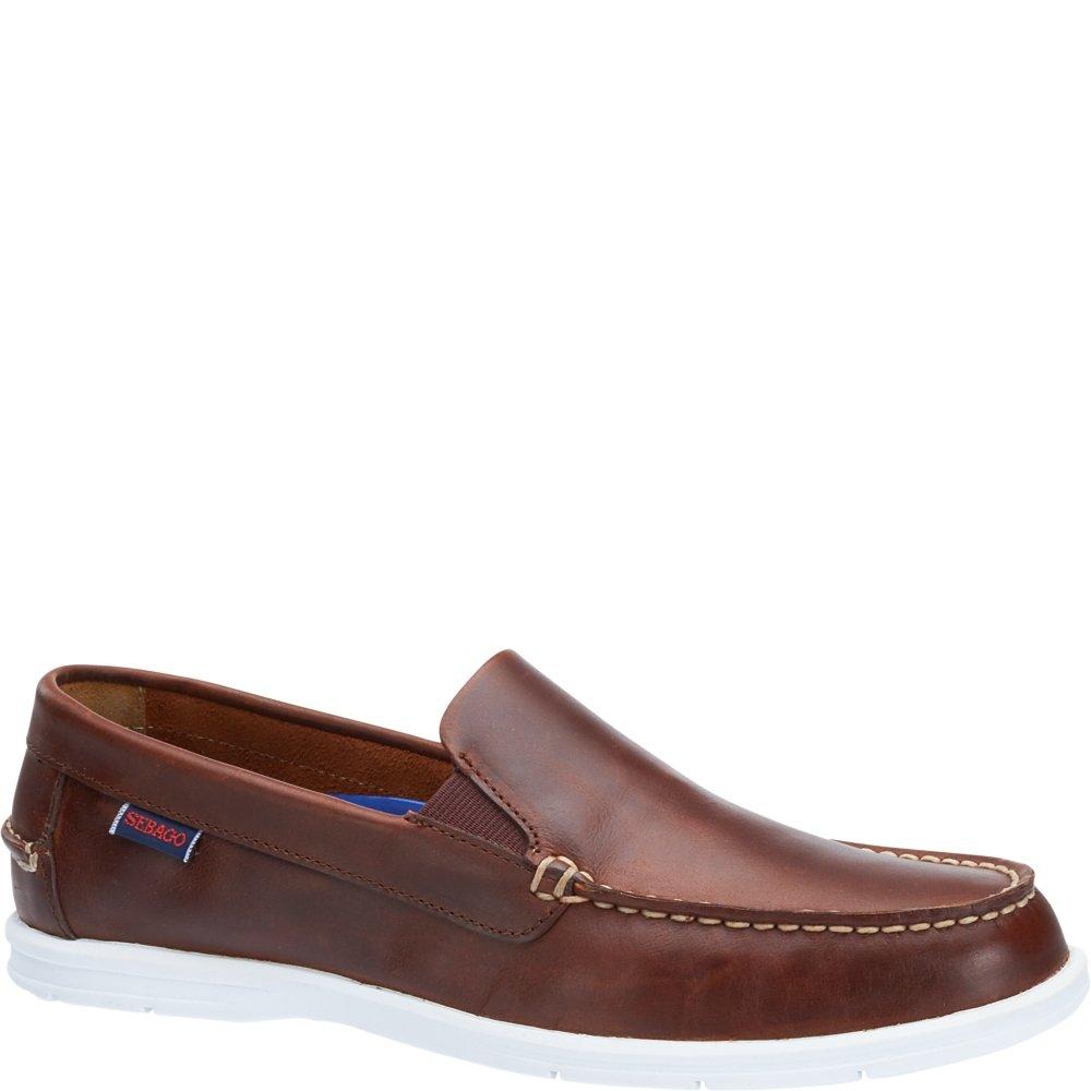 Sebago Men's Litesides Slip On Boat Shoe,Brown Oiled Waxy Leather,US 8.5 M