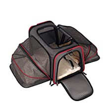Expandable Pet Cat Carrier for Small Dogs and Cats Soft Sided Crate Airline Approved Medium Kennel Travel Bag Fits Under or on Top of Seat Dog Carriers Expandable Foldable Washable Travel Carrier