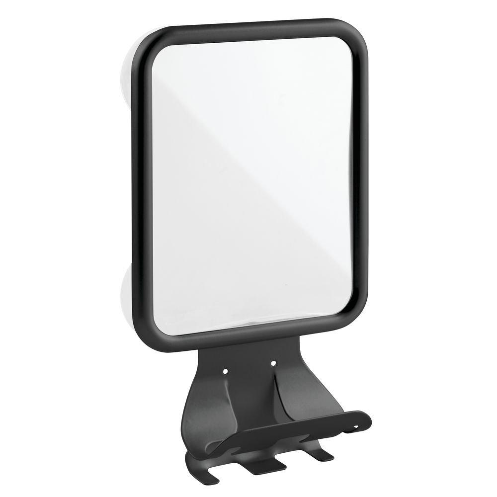 Mdesign Shower Shaving Suction Mirror With Shaving Cream And Razor Holder For Ba