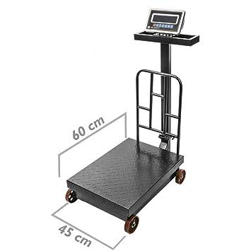 PrimeMatik - Balanza Industrial de Plataforma 45x60 cm báscula 500 Kg con Ruedas: Amazon.es: Electrónica