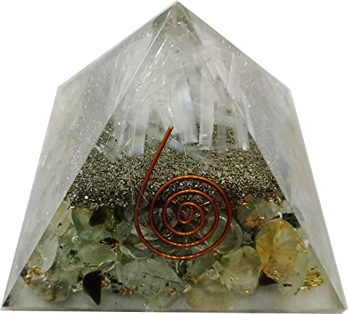 Crystal Cave Spiritual And Stone Of Magic Prehnite Stone Selenite Stone Pyrite Stone And Copper Orgone Natural Stone Pyramid  70 Mm
