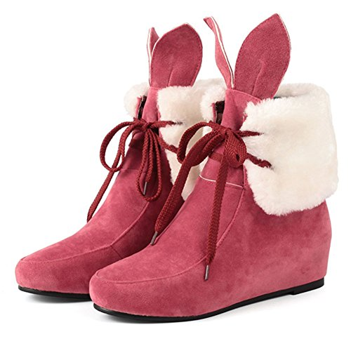 Chfso Womens Comfortabel Lace Up Ronde Neus Cute Ears Mid Sleehak Enkellaars Rood