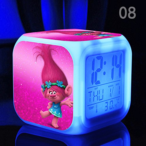 Enjoy Life : Cute Digital Multifunctional Alarm Clock With Glowing Led Lights and Trolls sticker, Good Gift For Your Kids, Comes With Bonuses (08) by EnjoyLife Inc