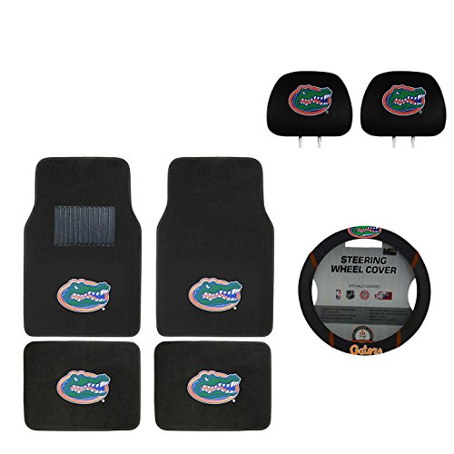 MULTI_B University of Florida Automotive Gift Set.Wow! Logo On Front and Rear Auto Floor Liner. You get 2 Head Rest Cover 4 Floor Mat and 1 Wheel Cover in This Gift Set. Perfect to Florida Gators Fan